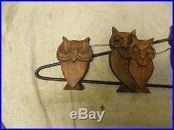 Vtg Retro Modern Eames Era Carved Wood & Metal Owl Wall Hanging Sculpture (G)