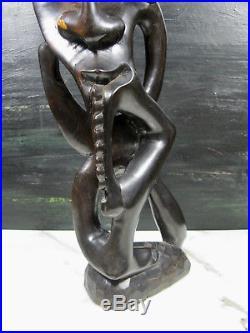 Vtg Shetani Makonde African Carved Ebony Wood Sculpture Statue Tribal Folk Art