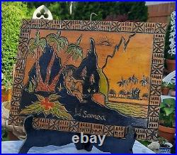 WESTERN SAMOA vtg wood carving pacific tapa tattoo tiki bar man story board art