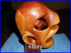 WOOD Macabre SKULL SCULPTURE EXOTIC MID CENTURY MODERN PRIMITIVE CARVED Head