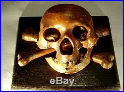 WWII Trench Art Skull & Crossbones -Hand Carved German Natzi Wood Sculpture