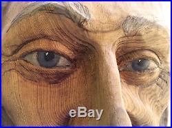 Weathered Wisdom Old Man Spirit Wood Carving Sculpture US Artist Rick Cain 2015