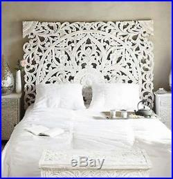 White 6ft Lotus Sculpture Headboard Teak Wood Carved Panel Large Wall Decor Thai