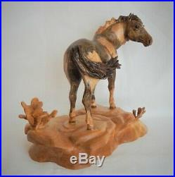 Wild Mustang Horse Original Birch Wood Carving Sculpture By Joan Kosel