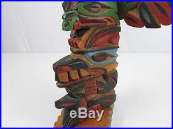 William Bill Kuhnley TOTEM POLE WOOD CARVING SCULPTURE INUIT PACIFIC NORTHWEST