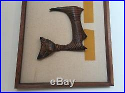 Witco 3 Cats Wall Hanging Sculpture Mid Century Modern Wood Carving Art