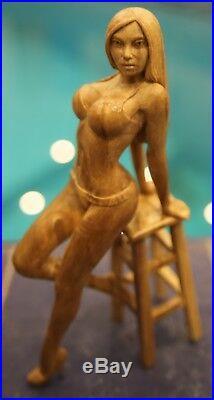 Women bar on yaht Wood Carving Art Sculpture hand carved