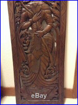 Wood Carving Thai Angel. Wall Art