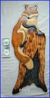 Wood Chainsaw Carving RED FOX Cabin Decor Wall Art Carved cub