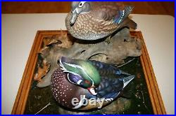 Wood Duck Pair Decoy Waterfowl/Display Wood Carving