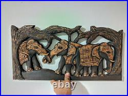 Wood Elephant Wall Hanging Beautiful Wall Art Home Decor Hand Made Carving Gift
