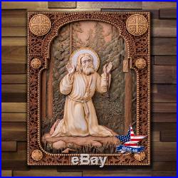 Wood Icon St. Seraphim Of Sarov Carved Artwork Painting Picture Sculpture Decor