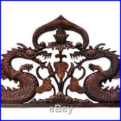 Wood Relief Panel'Guardian Dragons' Wall Sculpture Hand Carved NOVICA Bali