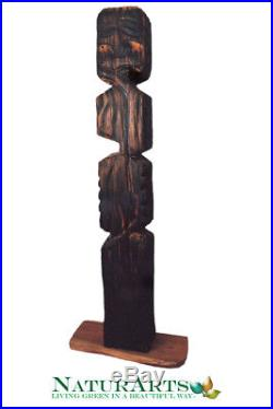 Wood Sculpture, Hand Carved Statue, Totem Style, Contemporary Art, Collectible