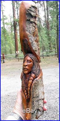 Wood Sculpture Tree Spirit Muzzle Loader Art Carving Native American Indian