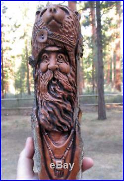 Wood Spirit Carving Mountain Man Muzzle Loader Art Sculpture Log Home Cabin