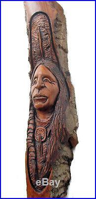 Wood Spirit Carving Sculpture Log Home Art Cabin Decor Native American Indian
