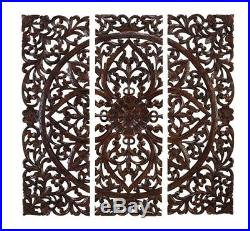 Wood Wall Art 3 Carved Plaques Panels Bohemian Moroccan Contemporary Style