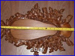 Wooden Base Shield Trophy Wood Carving Mounting Plaque For Fallow Deer Skull -S