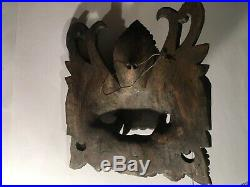 Wooden Carving Far East Dragon Head Painted Wood Carved