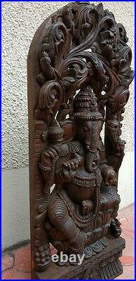 Wooden Ganesh Ganesha Statue Hindu Temple Antique Figurine Hand carved sculpture