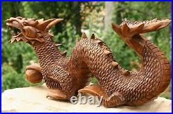 Wooden Hand Carved Crawling Dragon Sculpture Statue Wood Decor Figurine Handmade